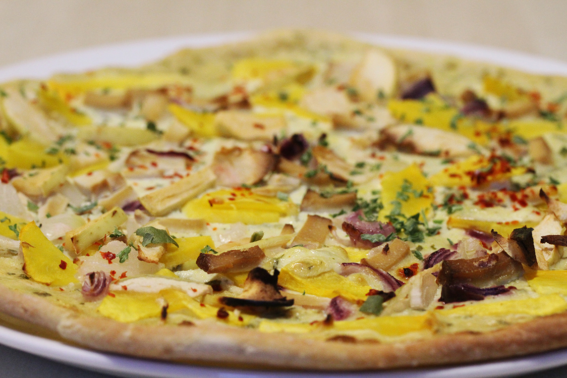 Vegan, Guten-Free Tarte Flambée with Pumpkin
