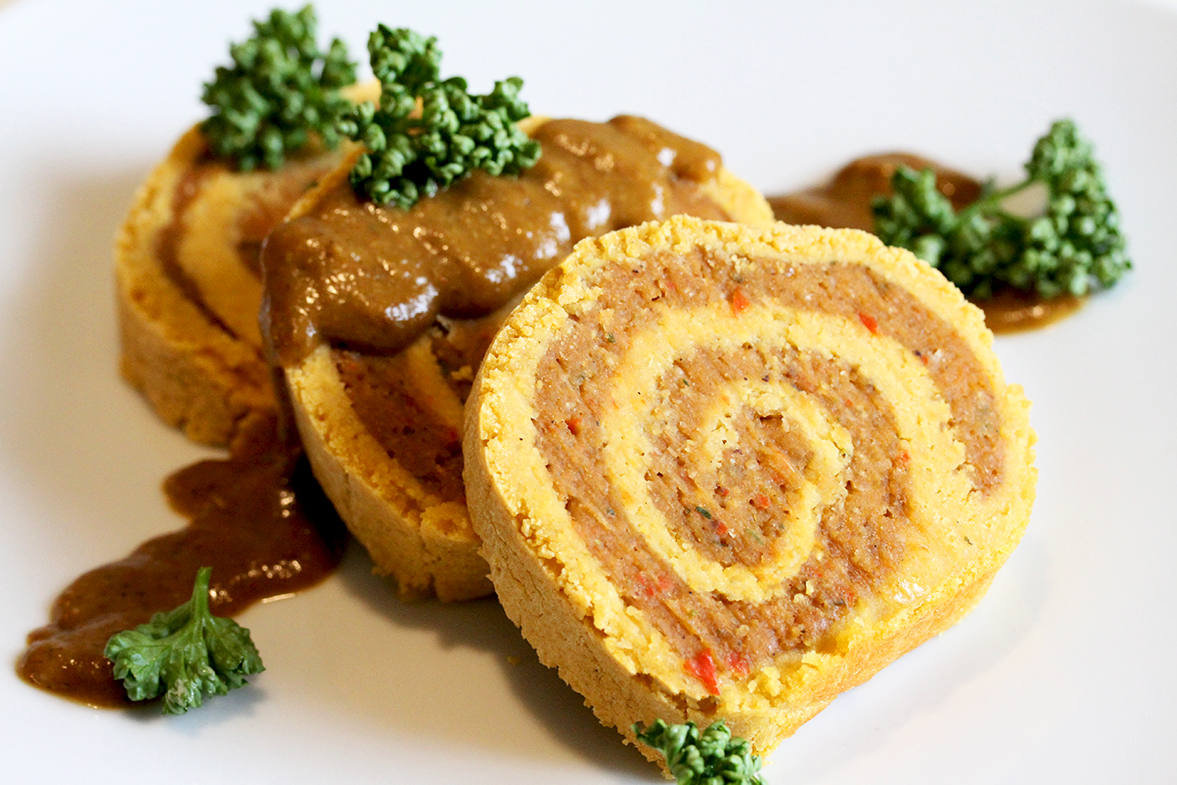 Lentil Roulade with Chestnut Stuffing