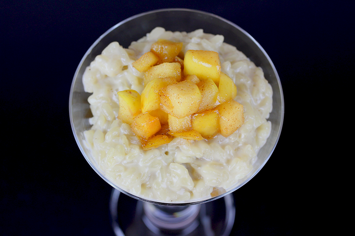 Vegan Rice Pudding with Apple Cinnamon Topping