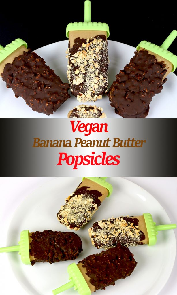 Vegan Banana Peanut Butter Popsicles